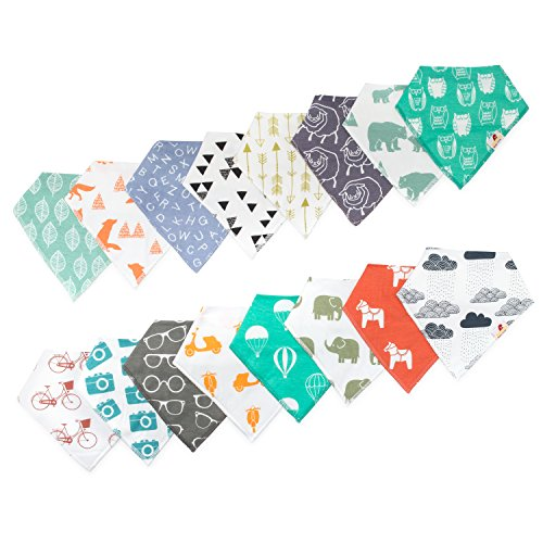 Adovely 16 Pack Unisex Baby Bandana Drool Bibs Gift Set by Adovely