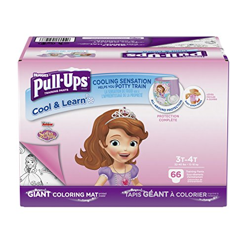 Pull-Ups Cool & Learn Training Pants for Girls, 3T-4T (32-40 lbs.), 66 Count, Toddler Potty Training Underwear, Packaging May Vary