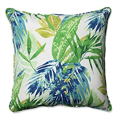"Pillow Perfect Outdoor/Indoor Soleil Floor Pillow, 25"", Blue/Green - Includes one (1) outdoor floor pillow, resists weather and fading in sunlight; suitable for indoor and outdoor use Plush Fill - 100-percent polyester fiber filling Edges of outdoor pillows are trimmed with matching fabric and cord to sit perfectly on your outdoor patio furniture - patio, outdoor-throw-pillows, outdoor-decor - 511RLVTqjML. SS400  -"