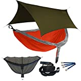 Eagles Nest ENO DoubleNest OneLink Combo - Orange/Grey Hammock+Olive Profly