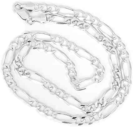 Unisex 14k Solid White Gold Figaro Chain Necklace