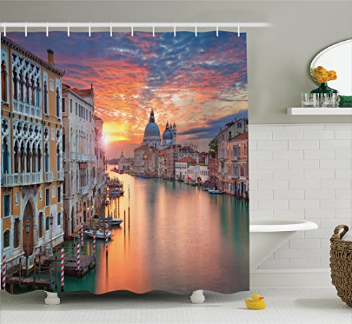 Ambesonne European Cityscape Decor Collection, Image of Grand...