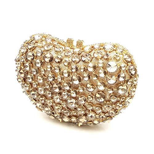 Nightclub Clutch Party Silver Prom Diamond Purse Clubs Bag Joy color Heart Luxury Handbag shaped Evening Ladies Miss For Crystal Gold Wedding Shoulder wRT7Xqgw