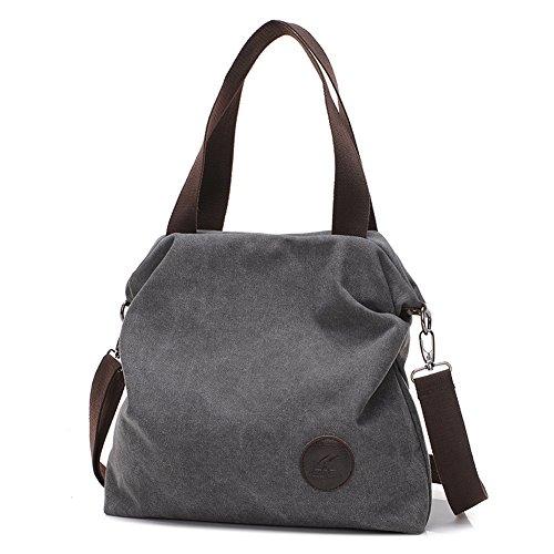 ELEOPTION Women's Simple Style Vintage Canvas Handbag Shoulder Bag Totes Shopper Hobo Bag For Women Girls Students (E- Gray)