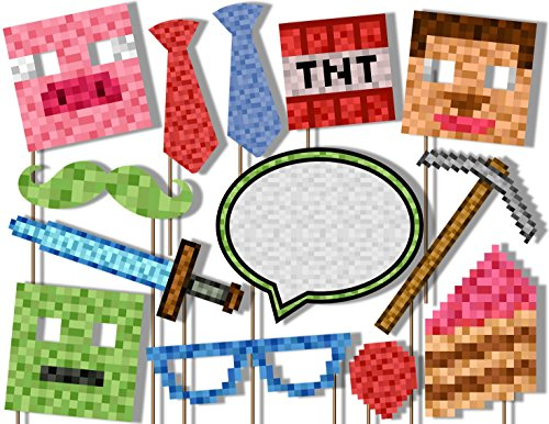 Birthday Galore Mining- Pixel World Photo Booth Props Kit - 20 Pack Party Camera Props Fully Assembled
