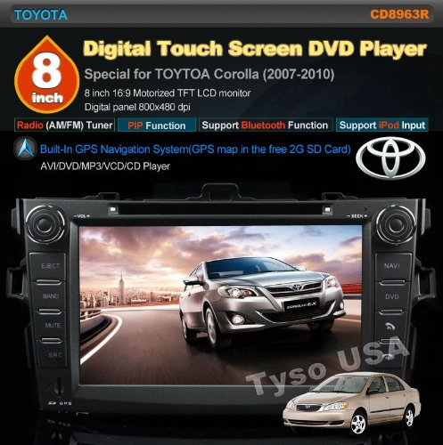 Car Stereo For TOYOTA Corolla (support year 2007 2008 2009 2010) 8 inch Indash CAR DVD Player GPS Navigation Navi iPod Bluetooth Rear Camera HD Touchscreen Radio RDS FM PIP Free Map CD8963R by EinCar (Image #1)