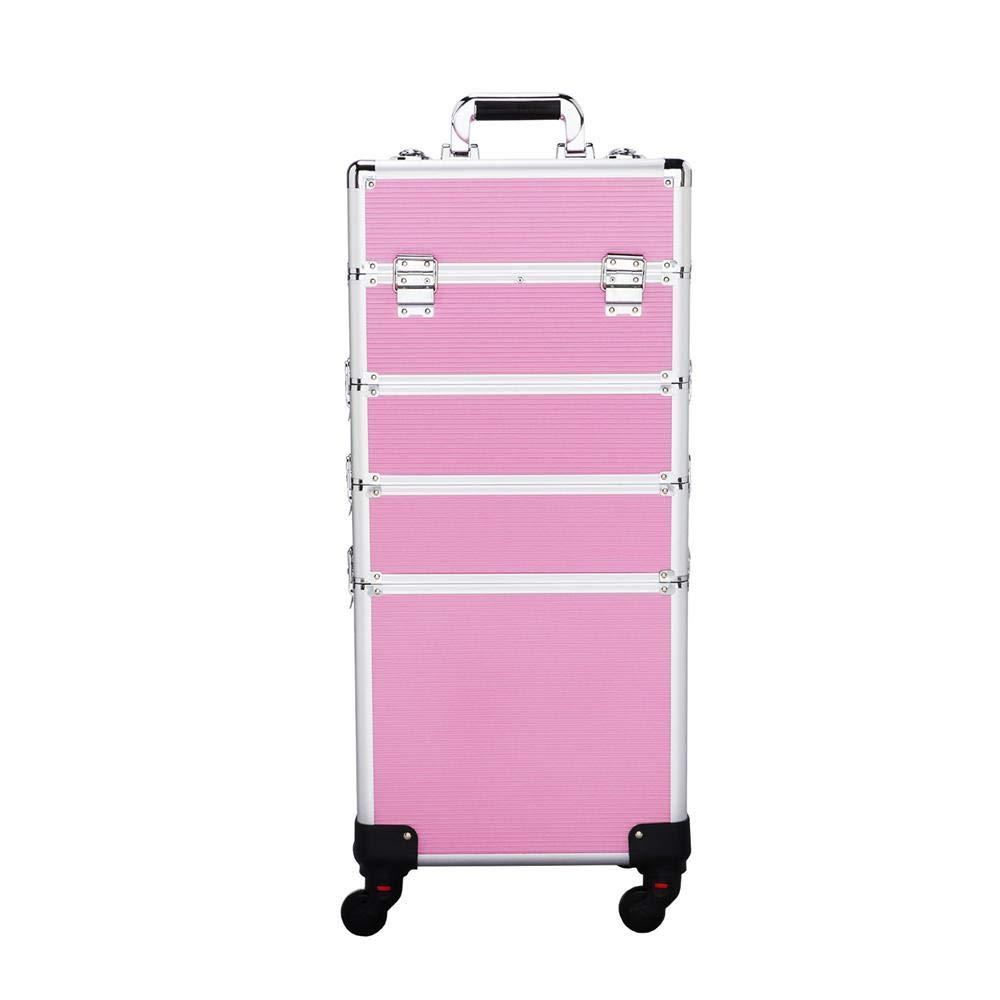Yaheetech Aluminum Makeup Case Beauty Cosmetic Organizer Box Trolley Nail Technician Supplies Pink