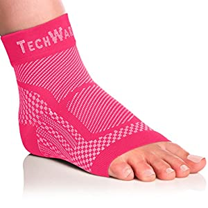 Tech Ware Pro Ankle Brace Compression Sleeve - Relieves Achilles Tendonitis, Joint Pain. Plantar Fasciitis Foot Sock with Arch Support Reduces Swelling & Heel Spur Pain. Injury Recovery for Sports.