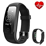 ID107 Plus Fitness Tracker Watch Smart Activity Tracker, Heart Rate Monitor Bracelet Wristband Exercise Workout Step Health Sleep Intelligent Fitness Band Bluetooth Waterproof Tracker for iPhone Android, Black