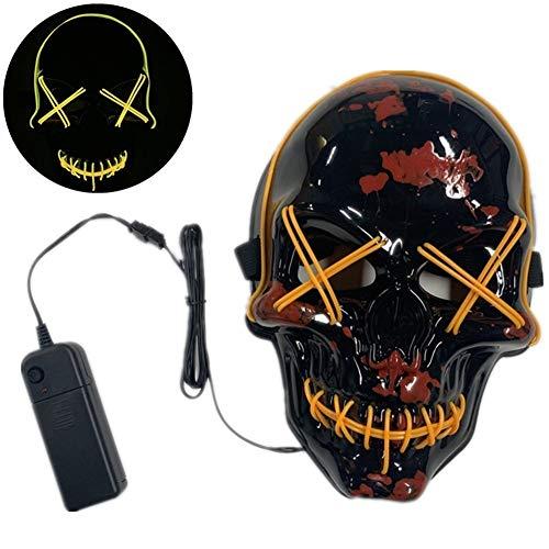 Purge 2 Halloween Makeup (WSMJ Halloween LED Mask Skeleton Mask Costume Party Props Masks Scary Mask Light Up Purge Mask for Festival Cosplay Halloween)