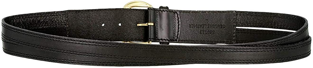 Hagora Women 1-7//8 Wide Solid Leather Split Center Stitched Brass Buckle Belt
