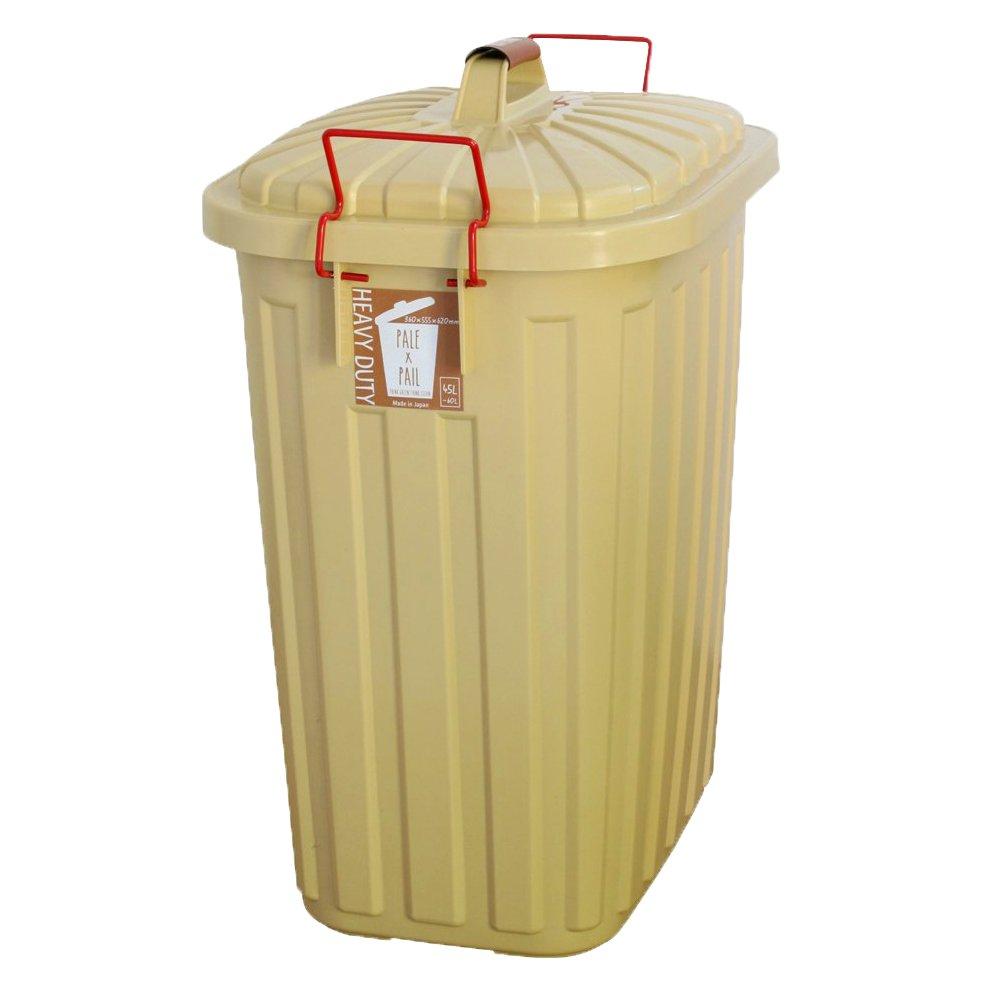 日本製 ダストボックス 屋外 屋内 ふた付き 大容量 ごみ箱 ロック付き ごみ入れ 箱 60L ベージュ B0716XKN6Z ベージュ ベージュ