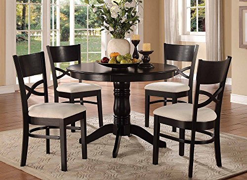 Homelegance Clancy Modern Classic 5-Piece Dining Set, Black ()