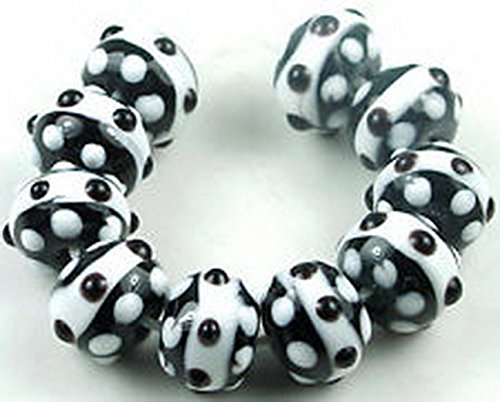 Bumpy Glass (Glamorise Beads #13332 LAMPWORK Glass Black White Dot Bumpy Rondelle Beads)