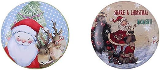 NUOBESTY Latas de Galletas de Navidad de Metal Blanco, vacías para Galletas, pequeñas, Redondas, Dulces, Caja para Guardar Galletas, Monedas, Regalo, 2 Unidades (Estilo Aleatorio): Amazon.es: Hogar