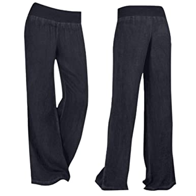 7aa79306125 Greatgiftlist Women  Comfy Classic Blue Black Wide Leg Jeans Long Length  Loose Baggy Denim Palazzo Pants Trousers