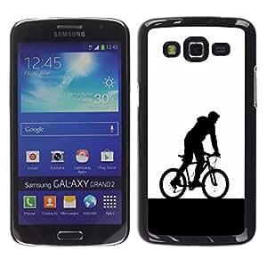 Be Good Phone Accessory // Dura Cáscara cubierta Protectora Caso Carcasa Funda de Protección para Samsung Galaxy Grand 2 SM-G7102 SM-G7105 // Minimalist Bicycle Rider