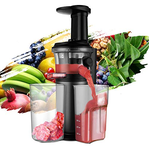 (HK-RV6006-1) Slow Juicer, Slow Masticating Juicer with Slow Press Masticating Squeezer Technology for Fruits, Vegetables and Herbs, Slow Juicer with Compact Design and easy to clean, 150 Watt, Black