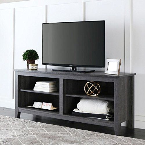 Four Pre-Cut Cable Holes in the Back of this Charcoal TV sta