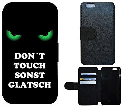 Schutz Hülle Flip Cover Handy Tasche Etui Case für (Apple iPhone 5 / 5s, 2003 Don´t Touch sonst Glatsch Grün Schwarz)