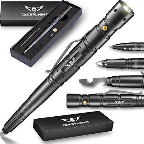 Tactical Pen for Self-Defense + LED Tactical Flashlight, Bottle Opener, Window Breaker | Multi-Tool for Everyday Carry (EDC) Survival Gear | For Military, Police, SWAT | Gift Boxed + Extra Ink (Men Birthday Gift Ideas)