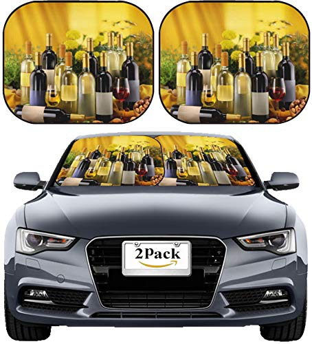 MSD Car Sun Shade Windshield Sunshade Universal Fit 2 Pack, Block Sun Glare, UV and Heat, Protect Car Interior, Image ID: 27971662 Wine