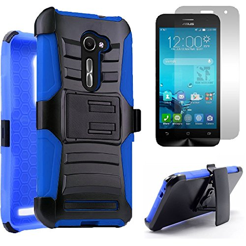 Asus Zenfone 2E (AT&T) Heavy Duty Impact Protection Armor Dual Layer Kickstand Case w/ Belt Holster + Premium LCD Screen Protector [SlickGearsTM] (Blue)