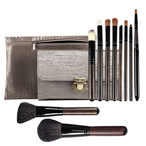 Goat Hair Makeup Brushes 10PCS Soft Professional Makeup Brush Set Foundation Blush Eye Shadow Makeup Brushes Two PU Cosmetic Bags JYNLU (Best Hair For Makeup Brushes)