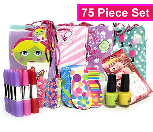 Spa Party Supplies / Kits with Prestige Nail Lacquer - Girls Spa Party Favors for 12 + 1 Bonus Gift! - 75 Piece Set - $59 Retail Value ()