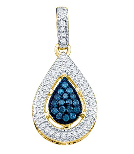 14kt Yellow Gold Womens Round Blue Colored Diamond Teardrop Cluster Pendant 1/5 Cttw (14kt Drop Necklace Cluster Gold)
