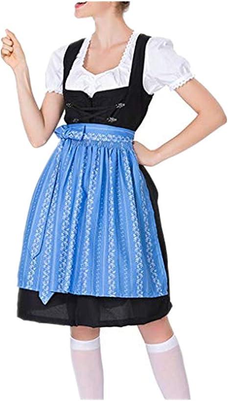 Dasongff - Disfraz de niña de 3 piezas con delantal, falda ...