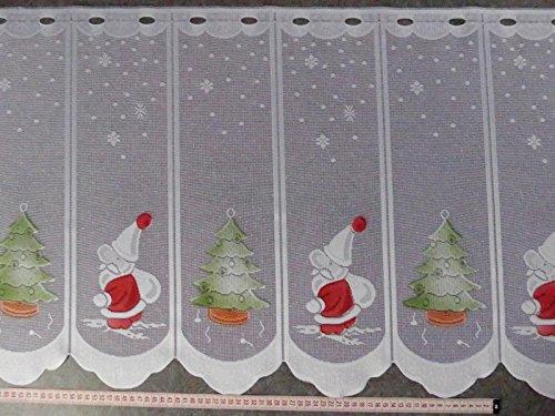 Scheibengardinenstoff mit Nikolaus und Tannenbaum 50cm hoch