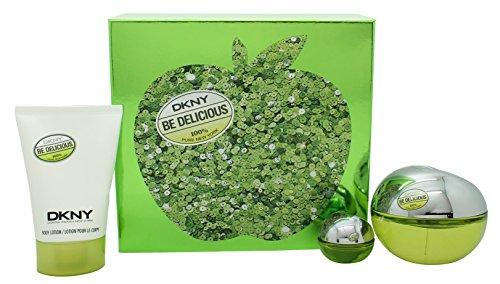 DKNY Be Delicious Gift Set 3.4oz (100ml) EDP Spray + 3.4oz (100ml) Body Lotion + 0.2oz (7ml) EDP Min