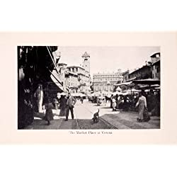 1912 Print Market Verona City Italy Culture Shopping Trading Street People - Original Halftone Print