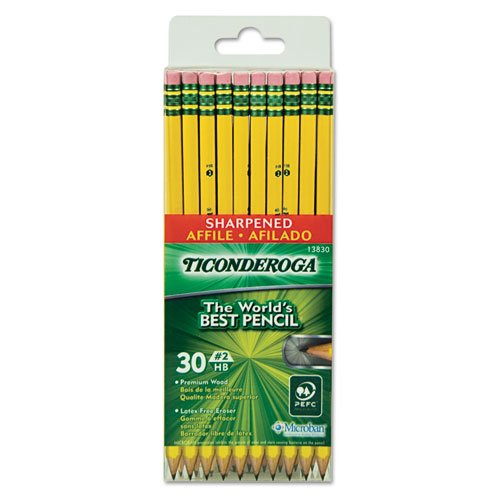 Case of 216 Packs,30 per pack, Ticonderoga,Pre-Sharpened Pencil, Hb, #2, Yellow Barrel by Ticonderoga