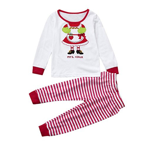 AutumnFall 2017 New Baby Girls Boys ''Mrs.claus'' Letter Print Tops+Pants Pajamas Christmas Home Outfits Set (White, 3T)]()