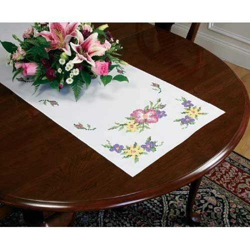 Dimensions Needlecrafts Stamped Cross Stitch, Wild Roses Table Runner