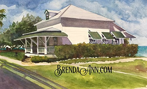 Railway Cottage (Pigeon Key Guest Cottage near Marathon, Florida in the Florida Keys - Fine Art Wall Art Artwork Watercolor Print by Brenda Ann - Henry Flagler Railroad History)