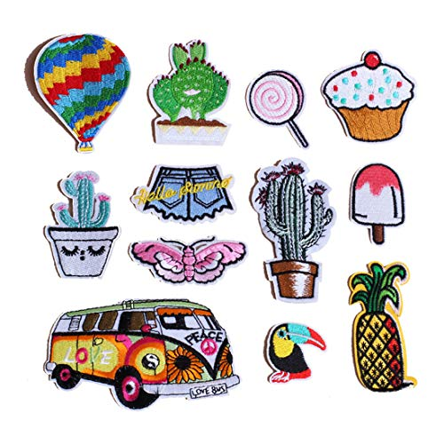 FineInno 12 Packs Cactus Embroidery Patches Iron-on Patches Appliques Sew On Sticker Heat Thermal Decals Decor for DIY,T-Shirt, Jeans,Clothing,Bags,Hats (12pcs,Cactus Series)