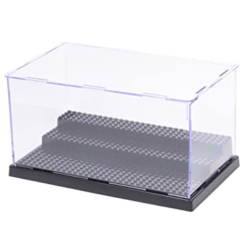MIMIEYES Estuche de Acrílico Caja de Presentación (10 x 5.7 x 5.3 Inches) Perspex Polvo Proof Show Case Base para Lego Minifigures Brick Building ...