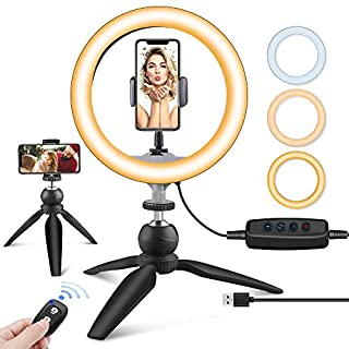 "UBeesize 10"" LED Ring Light with Tripod Stand & Phone Holder, Dimmable Desk Makeup Ring Light, Perfect for Live Streaming & YouTube Video, Photography, 3 Light Modes and 11 Brightness Levels"