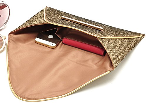 Women Envelope Gold Clutch Bridal Wedding Evening Bag Donalworld Party dwB8dX