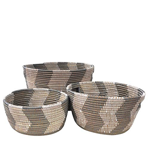 The Barrington Garage African Fair Trade Handwoven Zigzag Oval Nesting Baskets, Silver/White, Set of 3