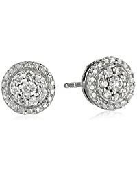 10k White Gold Diamond Round Stud Earrings (1/8 cttw)