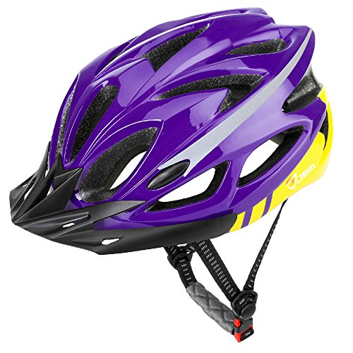 JBM Adult Cycling Bike Helmet Specialized for Mens Womens Safety Protection Red/Blue/Yellow (Purple & Yellow, Adult)