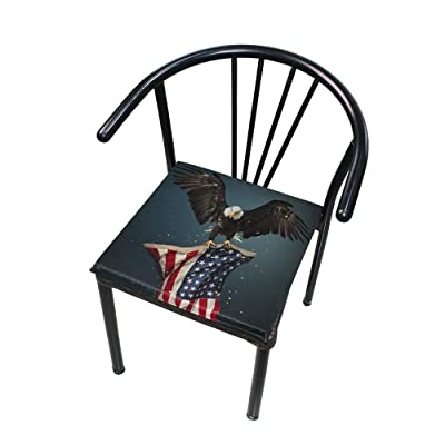 """HNTGHX Outdoor/Indoor Chair Cushion American Flag Bald Eagle Square Memory Foam Seat Pads Cushion for Patio Dining, 16"""" x 16"""": Home & Kitchen"""