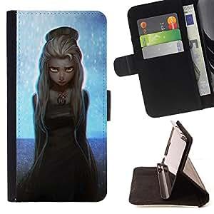 BullDog Case - FOR/Apple Iphone 5 / 5S / - / GIRL FAIRY BLONDE PRINCESS ART PAINTING STARS /- Monedero de cuero de la PU Llevar cubierta de la caja con el ID Credit Card Slots Flip funda de cuer