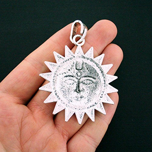SC6131 Sun Pendant Charm Antique Silver Tone Large Sized with Attached Loop