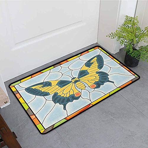 ONECUTE Rubber Doormat,Butterflies Butterfly in Stained Glass Window with Frame Wing Spring Garden Illustration,Anti-Slip Doormat Footpad Machine Washable,35
