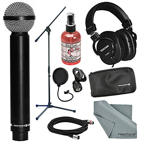 Beyerdynamic M160 Double Ribbon Hypercardioid Microphone and Accessory Bundle with Headphones + Fibertique Cloth + More by Photo Savings